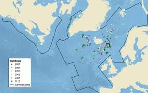 NAMMCO northern bottlenose whale map